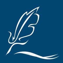 Schreibmeer-Logo: Weiße Feder auf blauem Grund